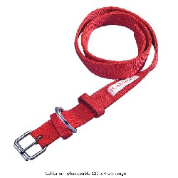 Collier en nylon double rouge longueur 125 x 4 cm